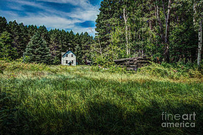 Farm In The Woods Art Print