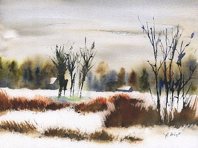 Painting - Farm In Winter by Frank Bright