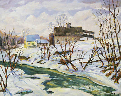 Canadiens Painting - Farm In Winter by Richard T Pranke