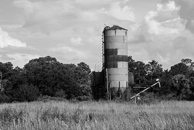 Photograph - Farm Life - Old Silo B/w by Christopher L Thomley