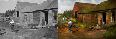 Photograph - Farm - Life On The Farm 1940s - Side By Side by Mike Savad