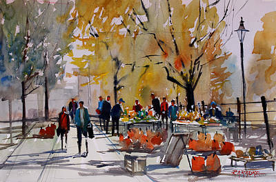 Pumpkins Painting - Farm Market - Menasha by Ryan Radke