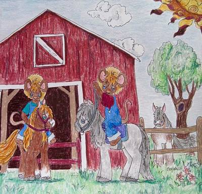 Drawing - Farm Mice by Megan Walsh