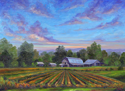 Mountain Sunset Painting - Farm On Glenn Bridge by Jeff Pittman