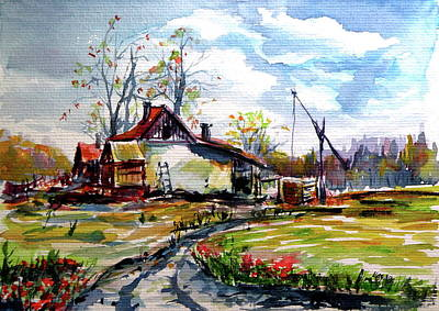 Painting - Farm On The Border by Kovacs Anna Brigitta