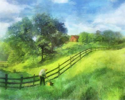 Digital Art - Farm On The Hill by Francesa Miller