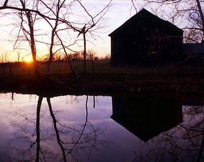 Farm Pond At Sunset Art Print by George Ferrell