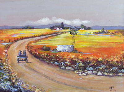 South African Artist Painting - Farm Road by Kareni Bester