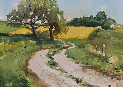 Country Dirt Roads Painting - Farm Road by Spencer Meagher