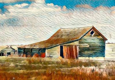 Mix Medium Digital Art - Farm Ruins Painting By Delynn by Delynn Addams