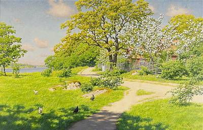 Park Scene Painting - Farm Scene With Pecking Chickens by MotionAge Designs
