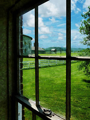 Photograph - Farm Seen Through Window by Susan Savad
