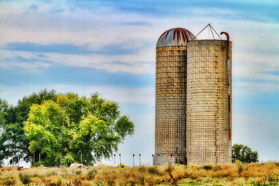 Photograph - Farm - Silo - Concrete Stave Silos by Barry Jones