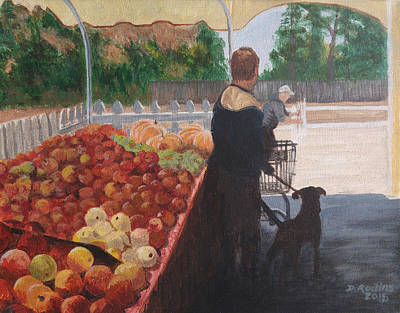 Farm Stand Dog Art Print by Donna Rollins