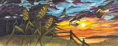 Painting - Farm Sunset by Darren Cannell