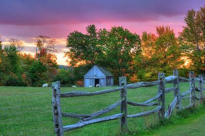Photograph - Farm Sunset In Autumn - Hollis Nh by Joann Vitali