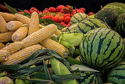 Photograph - Farm To Market Produce - Melons, Corn, Tomatoes 2 by Lynn Bauer