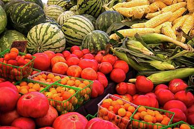 Photograph - Farm To Market Produce - Melons, Corn, Tomatoes by Lynn Bauer