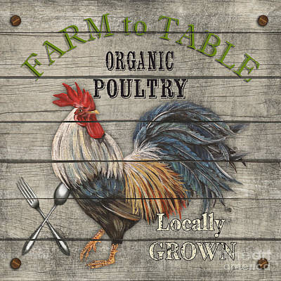 Farm To Table Rooster-jp2628 Original by Jean Plout