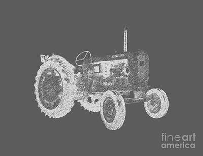 Monochromatic Digital Art - Farm Tractor Tee by Edward Fielding