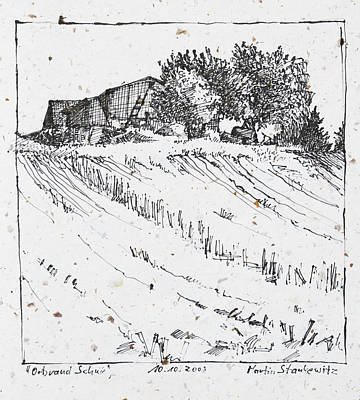 Drawing - Farm, Trees And Fields,ink Drawing by Martin Stankewitz