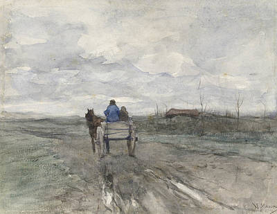 Mauve Painting - Farm Wagon On A Country Road by Anton Mauve