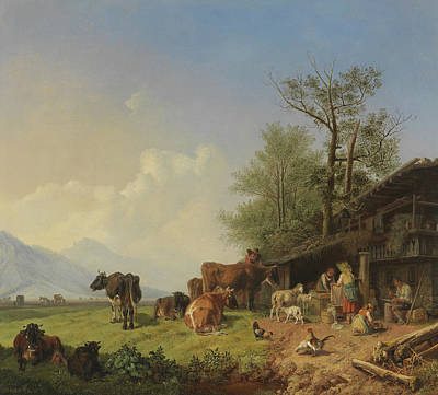 Painting - Farm With Fountain, Circa 1850 by Heinrich Burkel