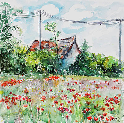 Painting - Farm With Poppies by Kovacs Anna Brigitta