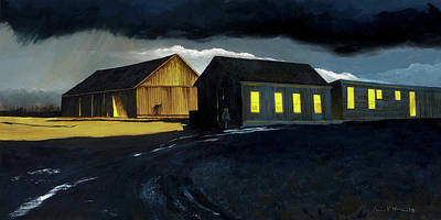 Painting - Farm Yard With Moonlight And Rain by Lynn Hansen
