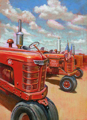 Painting - Farmall Tractor by Lesley Spanos