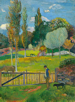 Painting - Farmer And His Dog Near A Barrier by Paul Gauguin