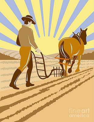 Farmer And Horse Plowing Art Print by Aloysius Patrimonio
