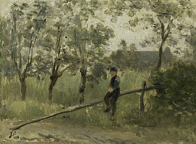 Jozef Israels Painting - Farmer Boy On A Barrier by Jozef Israels