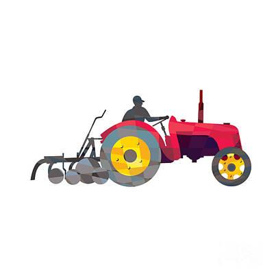 Agriculture Digital Art - Farmer Driving Vintage Farm Tractor Low Polygon by Aloysius Patrimonio
