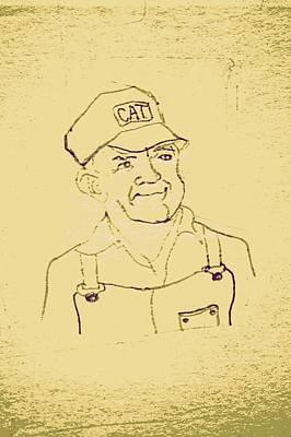 Farmer In Cat Hat Print by Sheri Buchheit