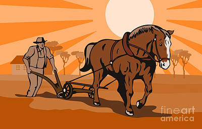 Farmer Plowing Field Art Print by Aloysius Patrimonio