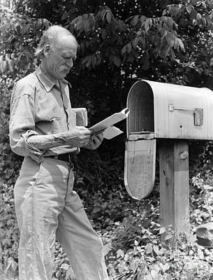 Farmer Reading Mail, C.1940s Art Print