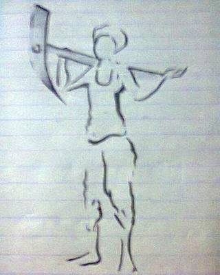 Drawing - Farmer Sketch by Madhusudan Bishnoi