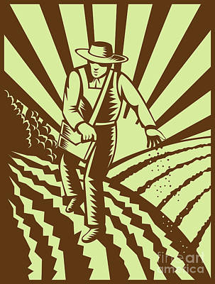 Farmer Sowing Seeds  Art Print by Aloysius Patrimonio