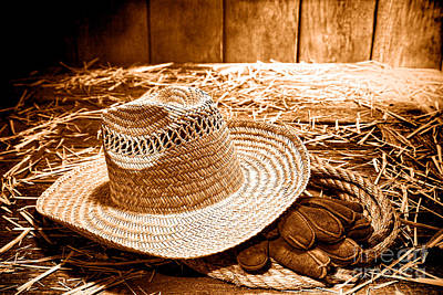 Aged Wood Photograph - Farmer Straw Hat - Sepia by Olivier Le Queinec