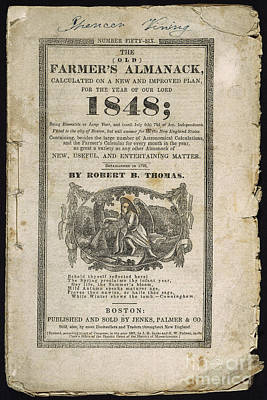 Photograph - Farmers Almanack, 1848 by Granger