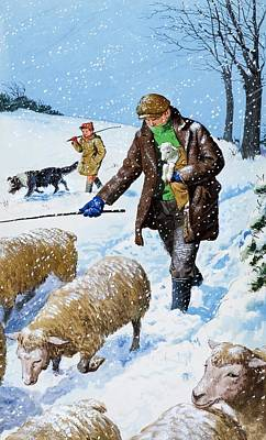 Sheepdog Drawing - Farmers Bringing In Their Sheep by Clive Uptton