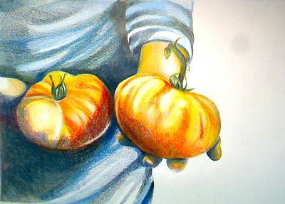 Local Food Drawing - Farmers Market 1 by Cami Rodriguez