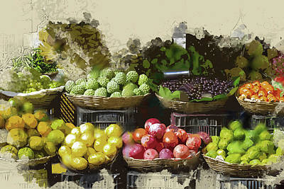 Fruit Stand Painting - Farmers Market Fruit Stand by Elaine Plesser