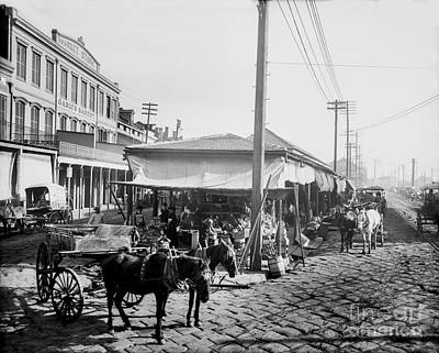 Farmers Market New Orleans Ca 1900 Art Print by Jon Neidert