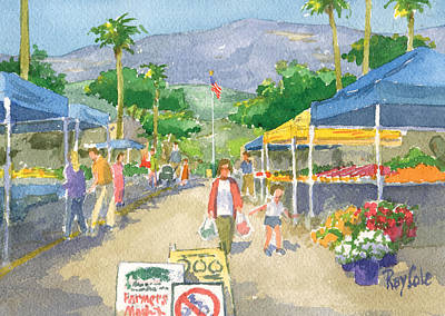 Ray Cole Painting - Farmers Market by Ray Cole