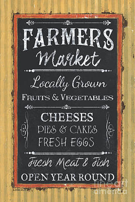 Outdoor Cafe Painting - Farmer's Market Signs by Debbie DeWitt