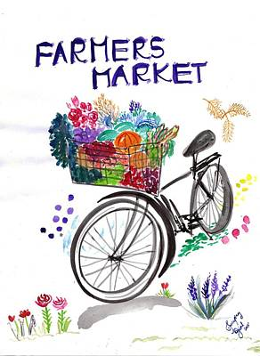 Fruits Painting - Farmers Market by Sweeping Girl