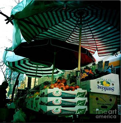 Photograph - Farmers Market With Striped Umbrellas by Miriam Danar