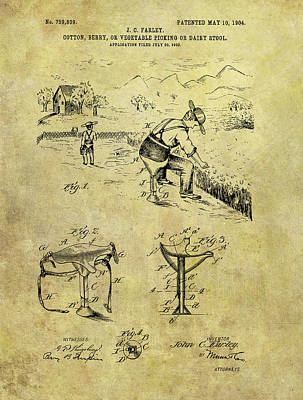 Drawing - Farmer's Stool Patent by Dan Sproul